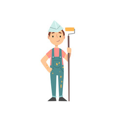 Boy painter character in uniform with roller kid vector