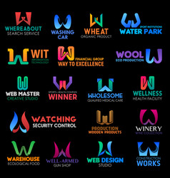 business identity symbols of letter w vector image