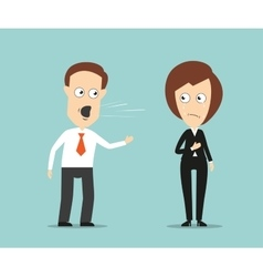 Businessman yelling at crying female colleague vector image