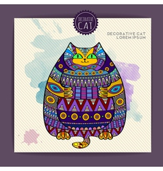 Card with decorative cat and watercolor stain vector image