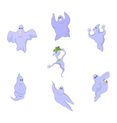 Cartoon funny good funny ghosts on Halloween vector image