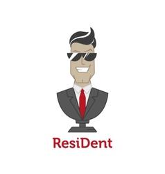 cartoon mascot logotype for dental clinic vector image