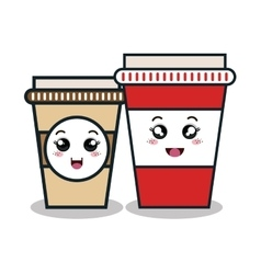 cartoon two cup plastic facial expression isolated vector image