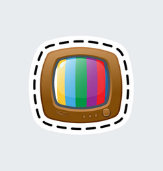 cartoon vintage tv in patch style clip art for vector image