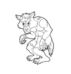 Cartoon werewolf outline silouette isolated on vector