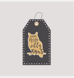 Christmas gift tag typography quote design happy vector