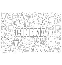 Cinema background from line icon vector