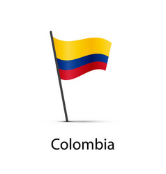 colombia flag on pole infographic element on vector image