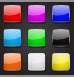 colored glass 3d buttons square icons on black vector image