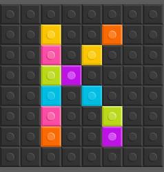 colorful brick block letter k flat design vector image