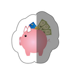 colorful silhouette sticker of piggy bank with vector image