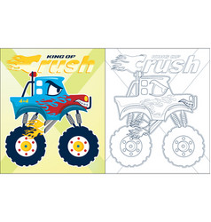Coloring book or page blue monster truck vector