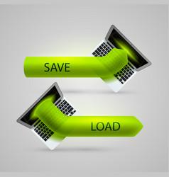 computer arrow loading and saving vector image