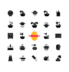 Cooking instruction black glyph icons set vector