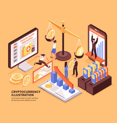 cryptocurrency isometric vector image