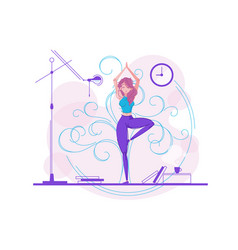 cute girl practicing yoga vector image