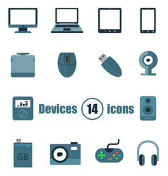 devices set of 14 icons in a flat style vector image