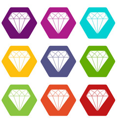 diamond icon set color hexahedron vector image