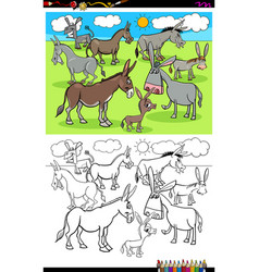 donkeys farm animal characters group color book vector image