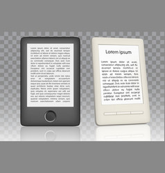 e-book reader realistic mock up set vector image