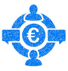 Euro social network icon grunge watermark vector
