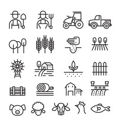 Farm and agriculture line icons set vector