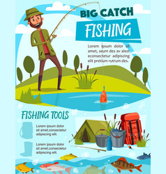 fishing equipment and fisherman tackle vector image
