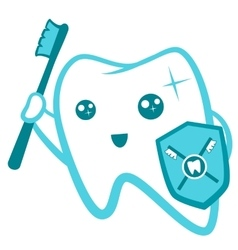 Flat cute tooth character flossing brushing vector