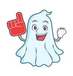 foam finger cute ghost character cartoon vector image