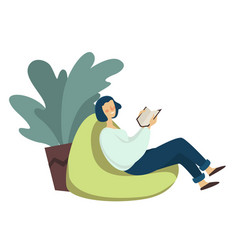 Girl in bag chair with book reading leisure vector