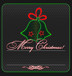 Greeting card for christmas neon and grid vector
