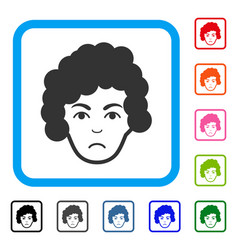 Hairstyle head framed sadly icon vector