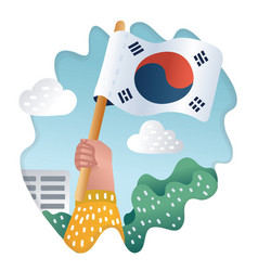 hand holding national flag of south korea outdoors vector image