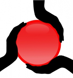 hand on button silhouettes vector image