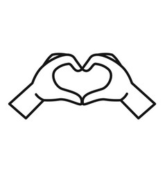 Hands heart sign icon outline style vector