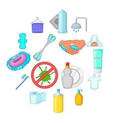 hygiene icons set cartoon style vector image