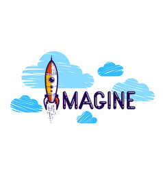 Imagine word with pencil instead letter i and vector