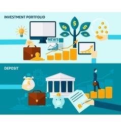 Investment flat banner set vector