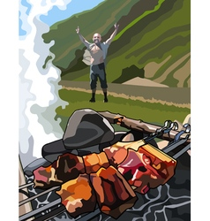 Joyful man on a picnic with shashlik in the grill vector