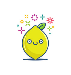 kawaii lemon fruit emoticon cartoon vector image