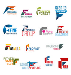Letter f corporate identity business icons vector