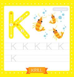 Letter k uppercase tracing practice worksheet vector