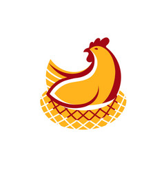 logo badge chicken meat and eggs vector image