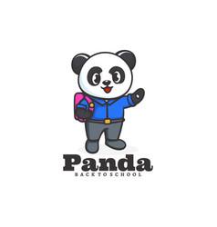 logo panda school mascot cartoon style vector image