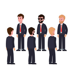 Male characters in suits front and back views vector