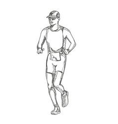 marathon running doodle art vector image