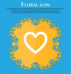 Medical heart Love Floral flat design on a blue vector image