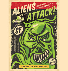 Monster from outer space retro poster design vector