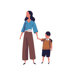 Mother leading her son to school portrait vector