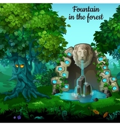 Mystic garden fountain with lion head vector image